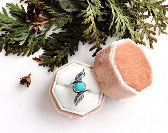 Sterling Silver and Turquoise Double Feather Ring. Pilot Mountain. Feather Jewelry. Nature Inspired. Bohemian Jewelry. Statement Ring.