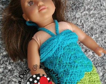 Mermaid tail blanket for 18 inch doll -  mermaid blanket - mermaid Afghan - doll mermaid costume - doll clothes - 18 inch  doll clothes
