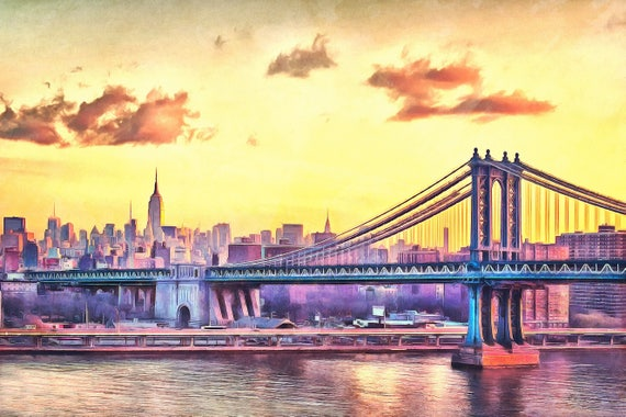 Giclee Canvas NYC Sunset Watercolor Painting wall art skyline