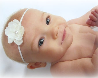 Off white baby baptism flower drop on soft stretch headband newborn to 6 years