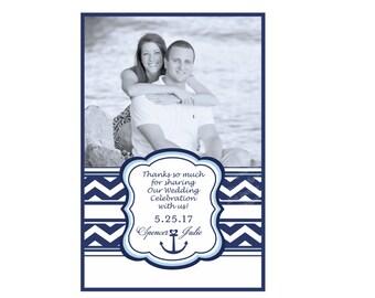 Beach Wedding Chevron Nautical Wine Labels with Anchor - Customizable