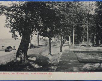 Aloah Beach Lake Winnebago Near Appleton Wisconsin UDB Antique Postcard