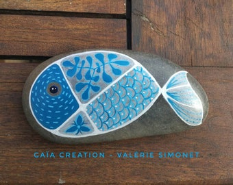 Stone hand - painted blue fish / Hand painted pebble - Blue fish