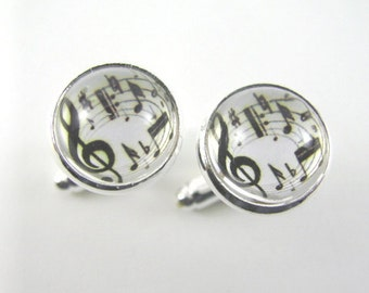 MAKING MUSIC Silver Cuff Links -- Cheerful Treble clef and staff with dancing musical notes, Gift for musicians, Wedding Cuff Links