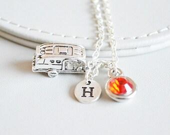 Camper Charm Necklace, Camping Necklace, Caravan Necklace, Trailer Necklace, Trailer Gift, Caravan Pendant, Camping Jewelry, Camper Van