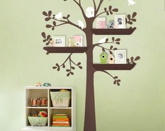 ORIGINAL Shelving Tree with Birds - LARGE  Kids Vinyl Wall Sticker Decals