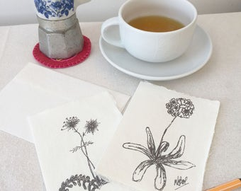 Notelets,  nature lover Thankyou notes, greetings cards, wildflowers, gift for gardener, gift for wildlife lover, handmade paper,notecards