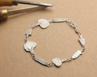 Forest oxidised engraved silver | tree link bracelet |