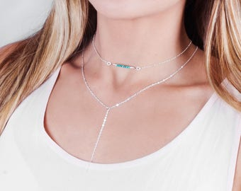 Turquoise Choker, Silver Turquoise Necklace, Tiny Turquoise Choker Necklace,  Minimal Gold Choker, Rose Gold Delicate Choker, Layered Choker