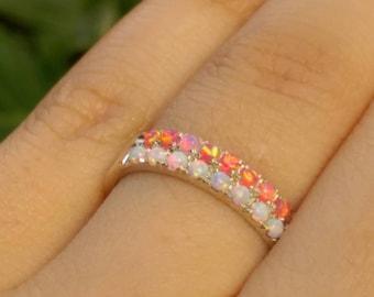 promise rings, fire opal ring, white opal rings set, promise rings set, promise ring for her, silver opal rings, Silver Rings Set opal ring