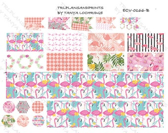 ECV-0166-B Stickers - Flamingos & Peonies! Boho/Shabby Chic/Vintage Bottom Washi/Half-Boxes/Flags - Erin Condren, Happy Planner, MAMBI