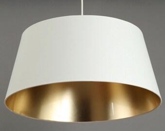 Hängelampe   weiß/Gold  Metropol Durchmesser unten 50 cm  Höhe 23cm