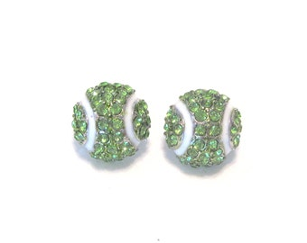 Tennis Ball Rhinestone Earings.