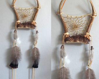 Deer Antler Dream Catcher, Rustic Dreamcatcher, Natural Dreamcatcher, Native America Inspired Dreamcatcher, Rustic Wall Hanging