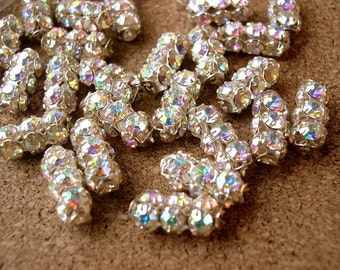 2 Vintage SWAROVSKI  beads clear rhinestones crystals in metal setting genuine 1100 made in Austria