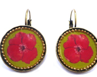 Flower Earrings - Floral Earrings - Colorful Earrings - Circle Earrings - Statement Earrings - Casual Jewelry - Unique Jewel
