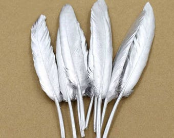10pcs Silver Color Goose Feather 10-15cm / 4-6 inches Feathers Hair Feathers Craft Supplies Wholesale Feathers YM476
