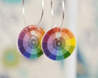Color Wheel, Colour Wheel Art Theory Earrings