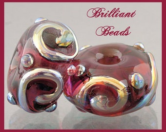 Amethyst & Metallic Aurae Glass Spacer Bead Pair...Handmade Lampwork SRA, Made To Order
