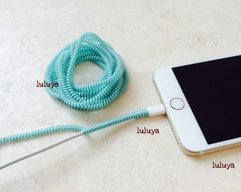 4 Pieces Teal Green White Spring Spiral Wrap Around Cord Protectors for Iphone Samsung Cellphone Tablet Charger Cable Earphone Earbuds