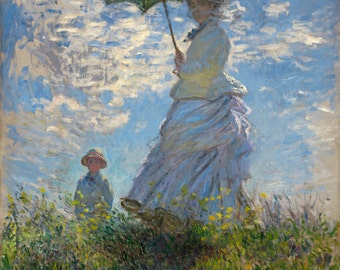 The Promenade (Woman With A Parasol) by Claude Monet, in various sizes, Giclee Canvas Print