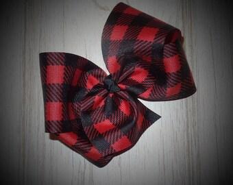 Red & Black Buffalo Check Big Boutique Hair Bows~