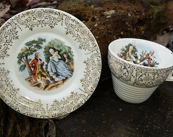 Vintage Cronin China Co. Minerva Ohio,  Colonial Couple Or Courting Couple, Tea Cup And Saucer