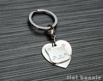 Cute cat keyring, Kawaii cat keychain, Backpack charm kitty, Bag accessory, Pet memorial, Crazy cat lady gift, metal charm, Flat Bonnie