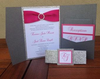 Fuchsia pocket wedding invitation - elegant quinceanera invitation - glitter invitations - modern invitations set - wedding invitation suite