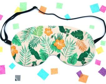 Tropical Leaf Hibiscus Sleep Mask, Eye Mask, Plant Accessory, Palm Leaf, Flowers, Banana Leaf, UK Gift