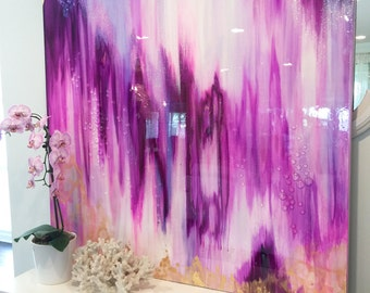 """Sold! Abstract Art Large Canvas Painting Lavender, White, Gold Ikat Glitter with Glass and Resin Coat 48"""" x 48"""" real gold leaf"""