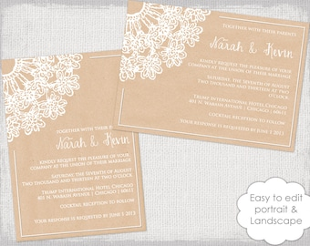 "DIY Rustic Wedding invitations template ""Lace Doily kraft"" printable wedding invitation Ecru invite Word templates YOU edit instant download"