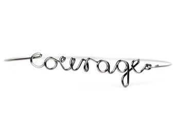 Stainless steel US WORDS bracelet | Dedicated word | Courage | Silver gloss | Personalized | Minimalist jewelry