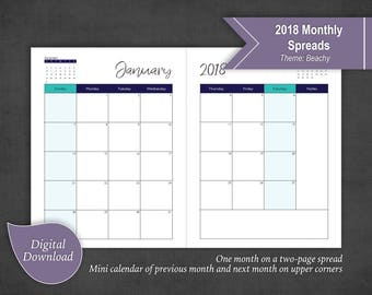 Full Spread 2018 Monthly Calendars Sunday Start 2 Pages per Month AND 2 Annual Calendars (2018 & 2019)
