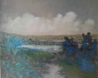 Original landscape oil painting CLOUDBURST by Stephen More Fontaine