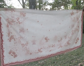 "Vintage Square Cotton Tablecloth - Handkerchief Tablecloth - Cocoa Brown/ Pale Peach on White - 52"" Square"