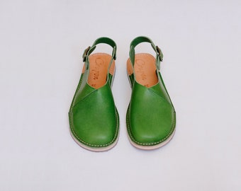 Green Sandals, Slingbacks, Slingback Sandals, Women Sandals, Green Leather Sandals, Summer Sandals, Summer Shoes, Flat Sandals