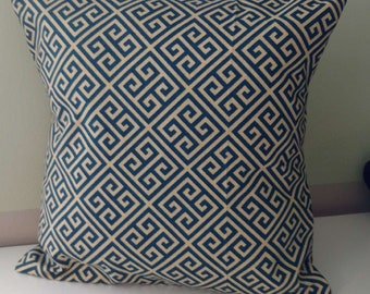 Abstract pattern pillow cover only linen tan navy zigzag pattern cushion cover envelope closure housewares home decor