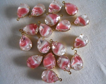 Vintage Pink Glass Stones Oxidized Brass Mounted West Germany Glass Stones Dangles
