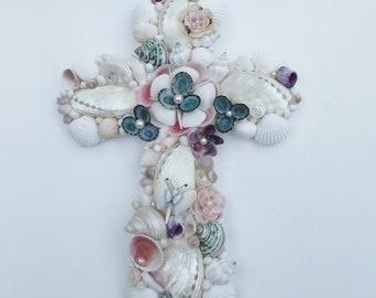 Seashell Cross, Handmade Shell Flowers, Abalone, Butterfly, Limpets