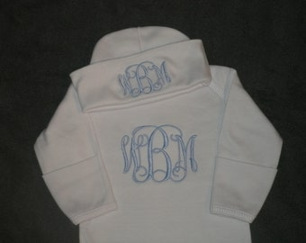 Custom Personalized Infant Gown and Cap set Monogrammed