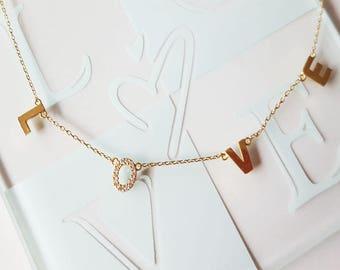 Sterling Silver.L.O.V.E.dainty love letter necklace.