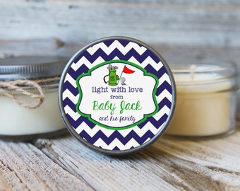 Set of 12 - 4 oz Baby Shower Candle Favor - Soy - Personalized Baby Shower  Favors //Sports Baby Shower // Golf Baby Shower