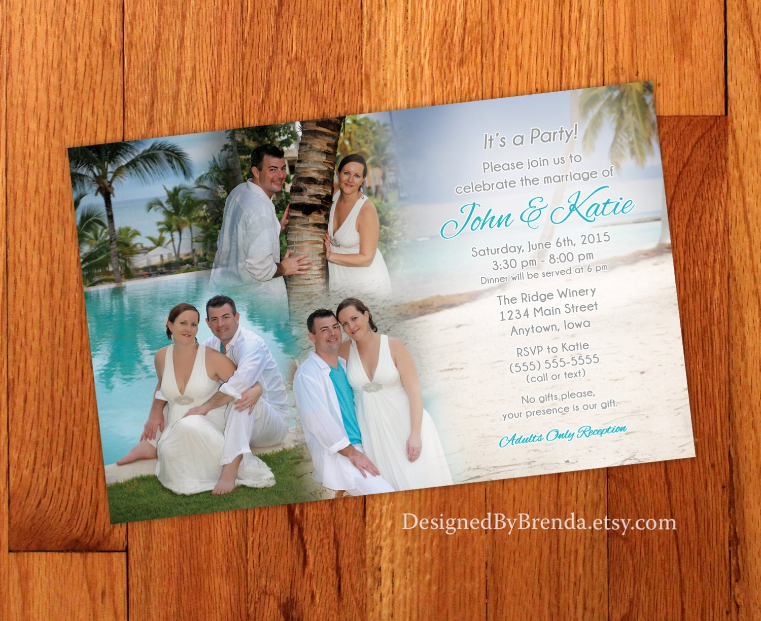 How Big Are Wedding Invitations: Blended Photo Collage Wedding Invitation Large Size Perfect