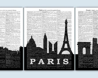 Paris Art Print, Paris Cityscape, Paris Gift, Paris Poster, Paris Wall Decor, Paris Skyline, Paris Wall Art, French Decor, Dictionary Art