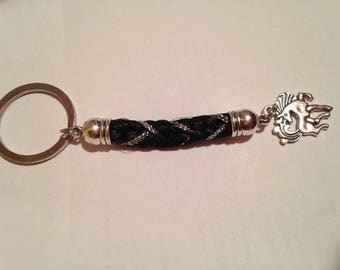 Braided horsehair with initial Keychain / charm + son colored