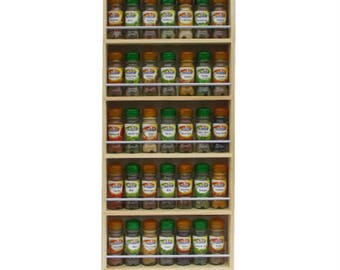 Spice Rack Contemporary Solid Pine 5 Shelves, Freestanding or Wall Mounted Wooden Kitchen Storage, 73.5cm Tall x 7cm Deep