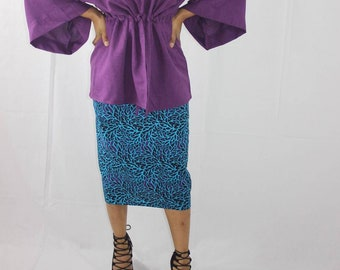 Turquoise and Purple Floral Ankara African Print Pencil Skirt