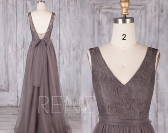 Bridesmaid Dress Dark Cocoa Tulle Dress,Wedding Dress,V Neck Prom Dress,Lace Illusion V Back Maxi Dress,Sleeveless A-Line Party Dress(LS480)