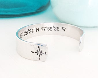 Custom Coordinates Jewelry, Latitude Bracelet, Longitude Bracelet, Latitude Jewelry, Longitude Jewelry,Coordinates Bracelet,Compass Bra